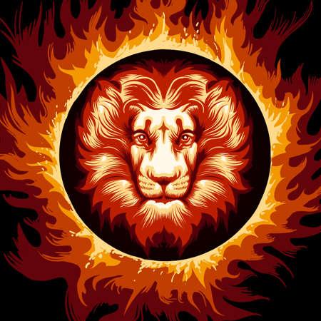 Ilustración de Lion head in Flame. Zodiac symbol Leo on fire background. Vector illustration. - Imagen libre de derechos