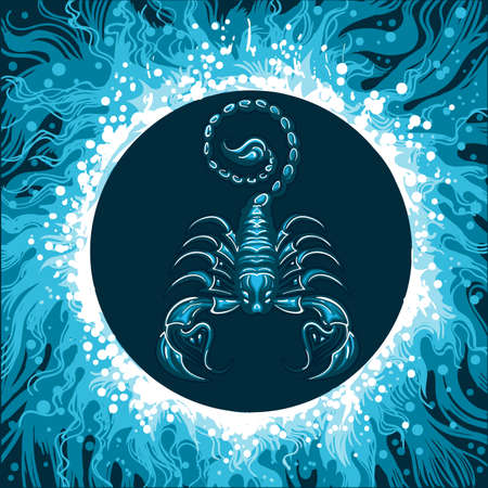 Illustration pour Scorpion in Water Circle. Zodiac symbol of Scorpio on water background. Vector illustration. - image libre de droit