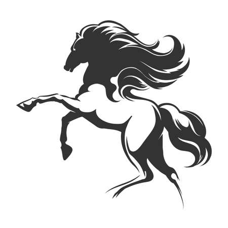 Ilustración de Silhouette of a running horse. Emblem or logo design element. Vector illustration. - Imagen libre de derechos