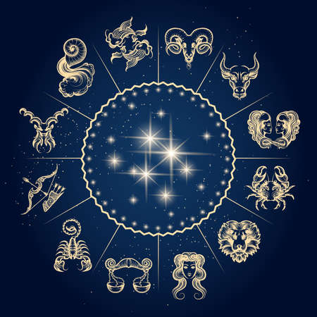 Illustration pour Symbols of zodiac and horoscope circle, astrology and mystic signs. Vector illustration. - image libre de droit