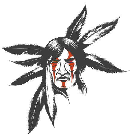 Illustration for Hand drawn illustration of native american indian warrior. Tribal native american with painted face and feathers. Vector illustration. - Royalty Free Image