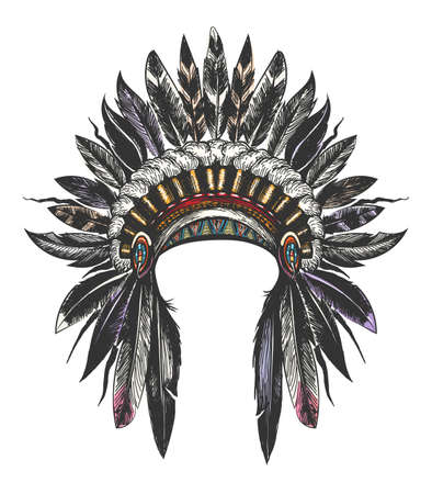Illustration for Hand Drawn Colorful Feathered War Bonnet. Vector illustration. - Royalty Free Image