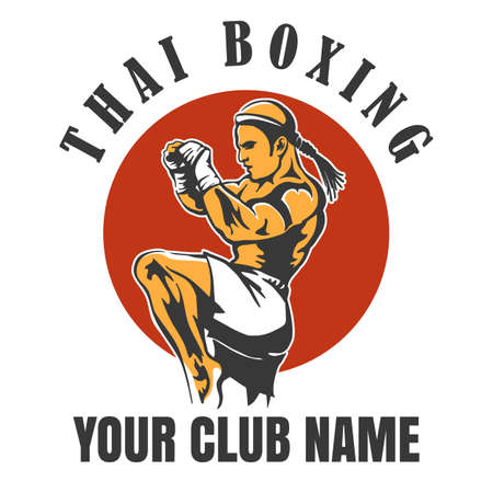 Illustration pour Thai Boxing Club emblem illustration - image libre de droit