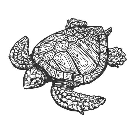 Illustration pour Sea Turtle  Drawn in Tattoo Style. Vector Illustration - image libre de droit