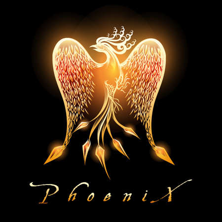Ilustración de Fire burning Phoenix Bird on black background. Vector Illustration. - Imagen libre de derechos