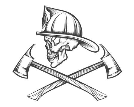 Ilustración de Firefighter skull in helmet and two crossed axes drawn in tattoo style. Vector illustration. - Imagen libre de derechos