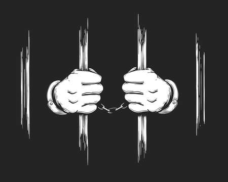Illustrazione per Hand drawn Prisoner Hands in cuffs holding Jail Bars. Vector Illustration. - Immagini Royalty Free