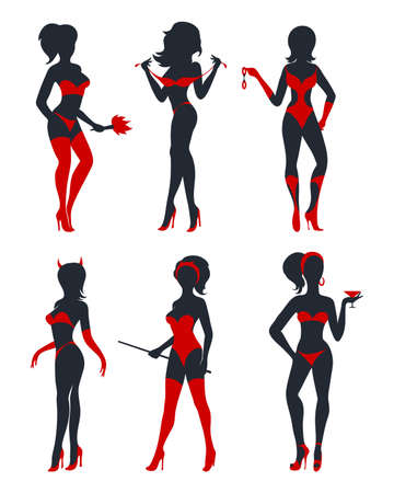 Ilustración de Set of beautiful sexy devil women in lingerie, stockings and high heels. Black and red silhouettes isolated on white. Vector illustration. - Imagen libre de derechos