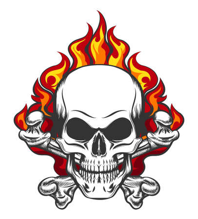 Illustration for Hand drawn vintage stylized skull and bones in flames in tattoo style. Vector illustration. - Royalty Free Image