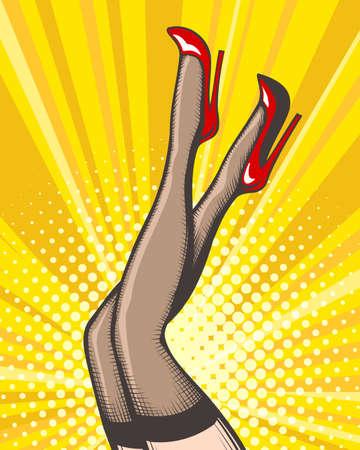 Illustration pour Pop art female legs in red shoes on high heels. Vector illustration. - image libre de droit