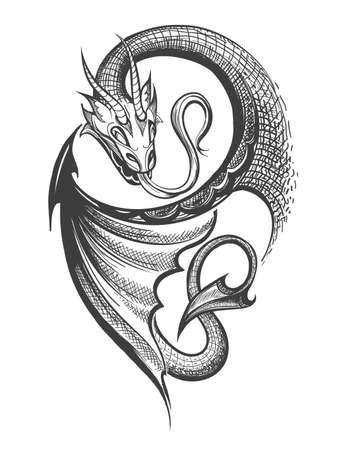 Ilustración de Hand made Dragon drawn in Tattoo Engraving Style. Vector Illustration. - Imagen libre de derechos