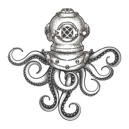 Illustration pour Diver helmet with octopus tentacles drawn in tattoo style. Vector Illustration. - image libre de droit