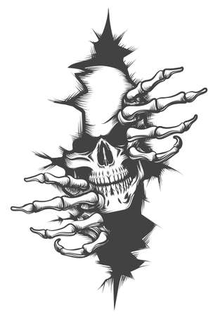 Illustration for Human Skull peeping Through Hole drawn in tattoo style. Vector illustration. - Royalty Free Image