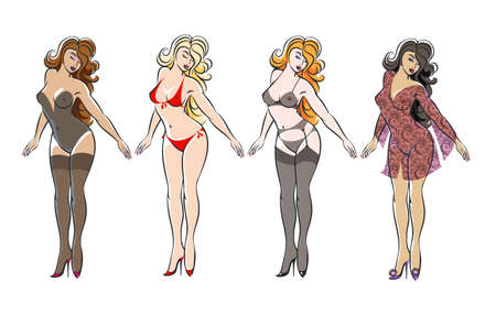 Illustration pour Set of Sexy beautiful girls in lingerie isolated on white. Vector illustration. - image libre de droit