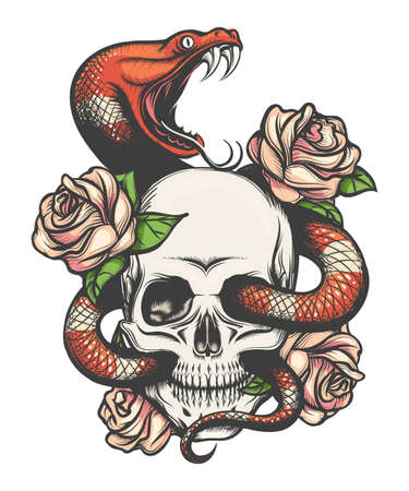 Illustration pour Colorful Tattoo design with skull, roses and snake. Vector illustration. - image libre de droit