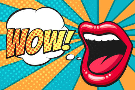 Ilustración de Female mouth with speach bubble. Wow and female lips in pop art style for advertising or poster. Vector illustration - Imagen libre de derechos