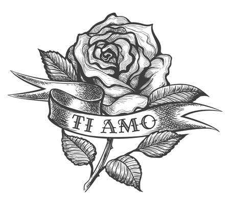 Illustration pour Rose flower and ribbon with wording the inscription in Italian Ti Amo which means I love you. Vector illustration in tattoo style. - image libre de droit