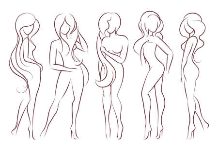 Illustration pour Beautiful long haired women stand in different poses. The figures of women are naked, feminine and slender. Vector illustration. - image libre de droit