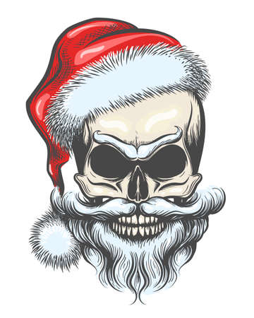 Illustrazione per Bearded Skull in Santa Claus Hat drawn in tattoo Style. Vector illustration. - Immagini Royalty Free