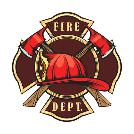 Illustration for Fire Department Emblem with Red Helmet and Axes. Firefighter badge drawn in engraving style. Vector illustration - Royalty Free Image