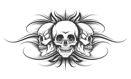 Illustration pour Three human skulls drawn in tattoo style. Vector illustration. - image libre de droit