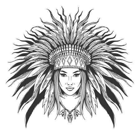 Illustration for Hand drawn indian girl in feathers war bonnet. Vector illustration. - Royalty Free Image