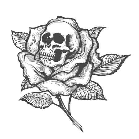 Ilustración de Tattoo with skull inside of Rose flower. Vector illustration. - Imagen libre de derechos