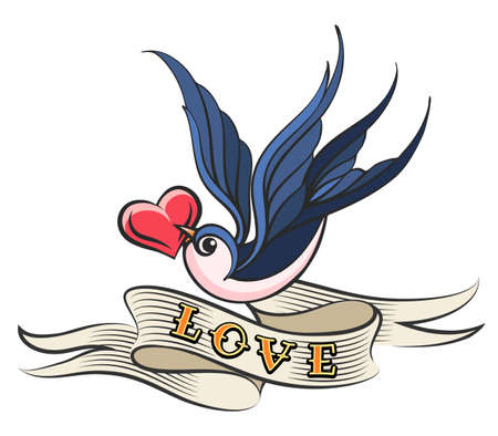 Illustration pour Heart in a beak of Swallow with wording LOVE on ribbon. Old school style tattoo. Vector Illustration. - image libre de droit
