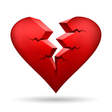 Ilustración de Broken heart isolated on white. Vector illustration. - Imagen libre de derechos