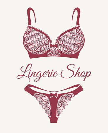 Illustration pour Lingerie shop emblem with lace bra and pants drawn in retro style. Vector illustration - image libre de droit