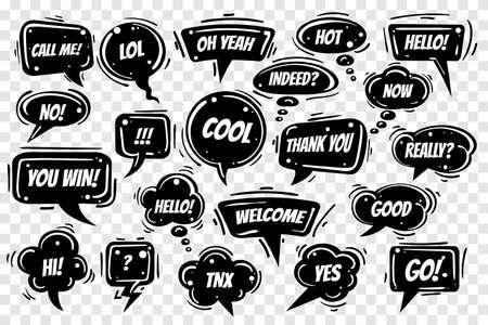 Illustration pour Speech bubbles set on transparent background. Various shapes with wording Hi, lol, ok, love, yes, no, bye, cool etc. Vector illustration. - image libre de droit