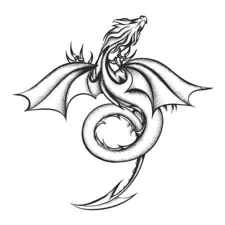 Ilustración de Dragon drawn in engraving style inspired by George Martin books.  Vector iillustration. - Imagen libre de derechos