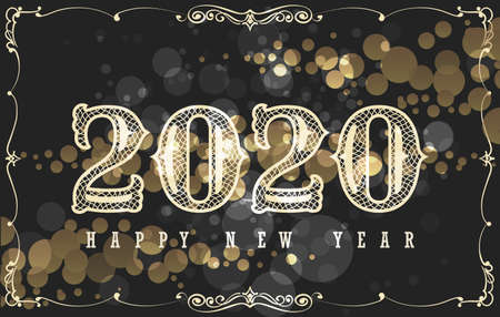 Illustration for Happy New 2020 Year Card Design in Vintage Style. Hand lettering on black background with golden bubbles. Vector Illustration. - Royalty Free Image
