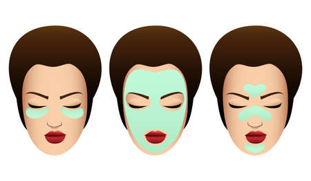 Ilustración de Set of Female Faces with variuos Beauty Masks. Cosmetic Procedure template. Vector illustration. - Imagen libre de derechos