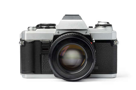 Foto de Old photo camera isolated on white background - Imagen libre de derechos