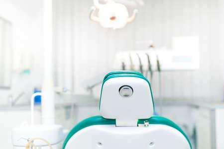 Foto de Detail of dentist chair at local dental private clinic - Imagen libre de derechos