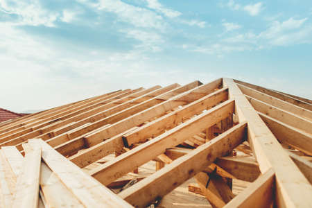 Photo for Industrial roof system with wooden timber, beams and shingles - Royalty Free Image