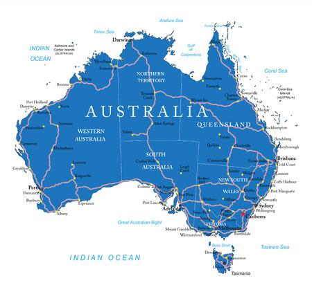 Illustration for Australia road map - Royalty Free Image