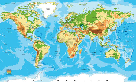 Illustration pour Physical map of the world - image libre de droit