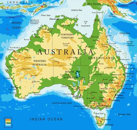 Illustration for Australia-physical map - Royalty Free Image