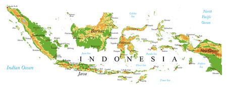Illustration pour Indonesia physical map - image libre de droit