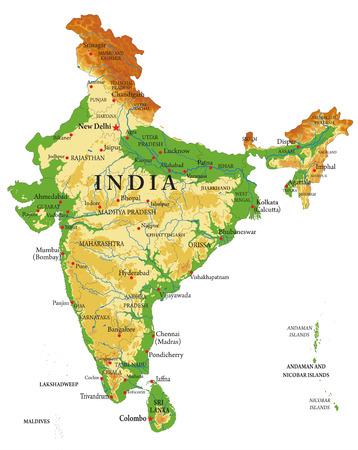 Illustration pour India relief map - image libre de droit
