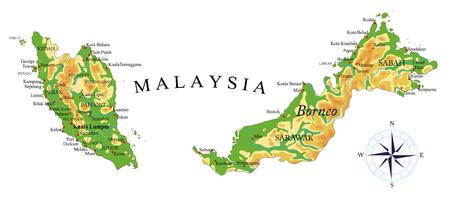 Illustration pour Malaysia physical map - image libre de droit