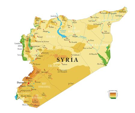 Illustration pour Highly detailed physical map of the Syria,in vector format,with all the relief forms,regions and big cities.  - image libre de droit