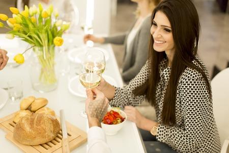 Foto de View at woman with glass of white wine - Imagen libre de derechos