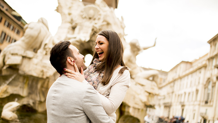 Photo for View at loving couple in Rome , Italy - Royalty Free Image