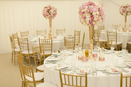 Photo for Closeup view of the luxurious wedding table decoration - Royalty Free Image