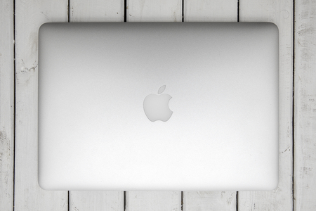 Photo pour BELGRADE, SERBIA - MARCH 3, 2017: MacBook computer isolated on white. The MacBook is a brand of notebook computers manufactured by Apple Inc. - image libre de droit