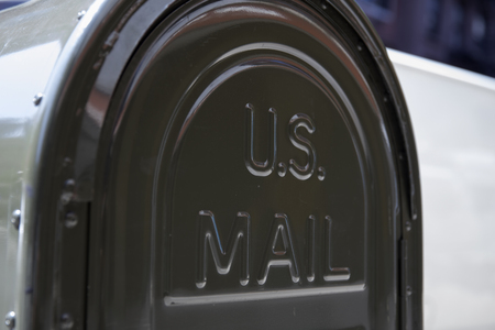 Foto de NEW YORK, USA - AUGUST 30, 2017: Detail of the US mail letterbox in New York. US postal servise as independent agnecy was formed in 1971. - Imagen libre de derechos