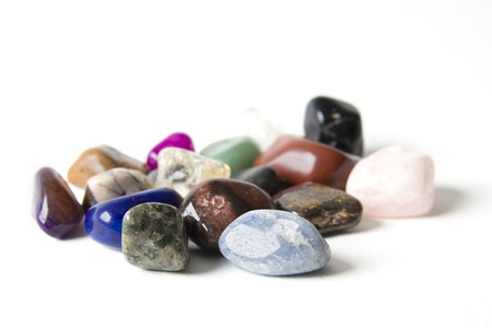 Foto de Group of various minerals on the white background - Imagen libre de derechos